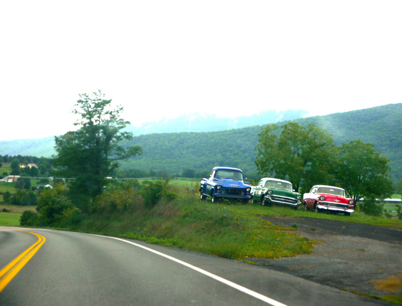 Three Cars on a West Virginia Curve